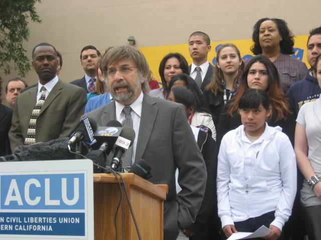 ACLU of Southern California lead counsel Mark Rosenbaum at Markham Middle School in Watts. He announced a lawsuit to stop L.A. Unified teacher layoffs that have disproportionately affected, the suit alleges, schools in low income neighborhoods. File photo.