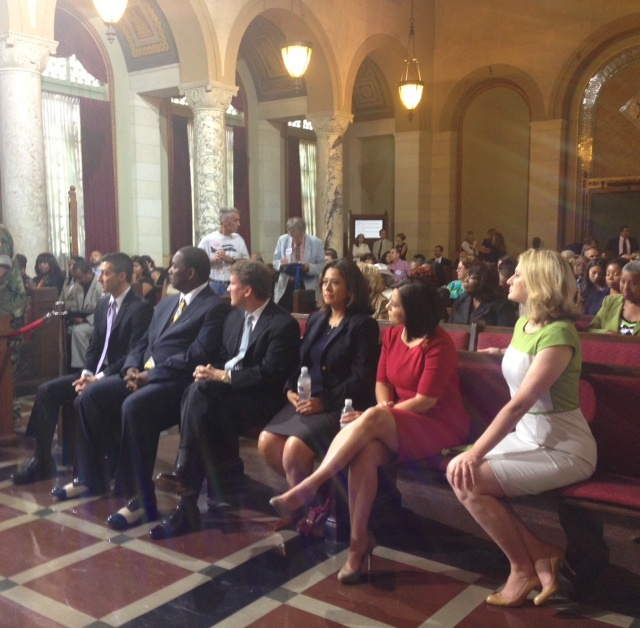 The Los Angeles City Council unanimously confirmed Mayor Eric Garcetti's nominees to the Board of Public Works Tuesday. From left to right, Matt Szabo, Mike Davis, Kevin James, Barbara Romero and Monica Rodriguez. The mayor's wife, Amy Wakeland (far right), joined the commissioners in the front row.