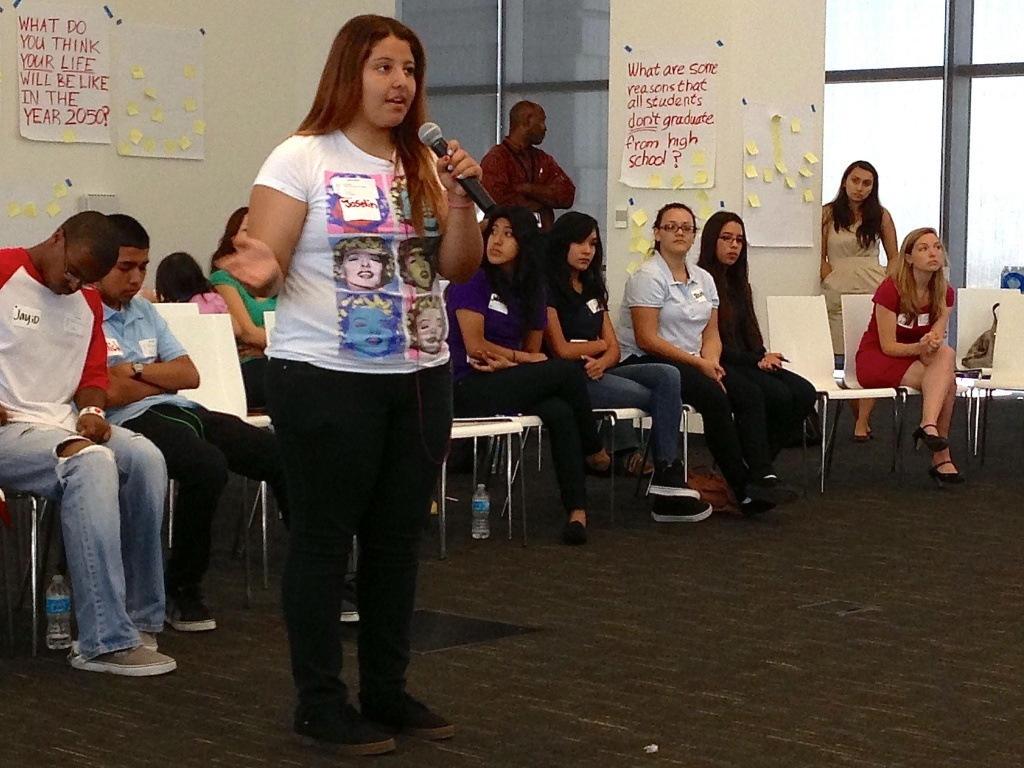 A student speaks at a weekend forum hosted by United Way, where student leaders weighed in the future of the Los Angeles Unified School District.
