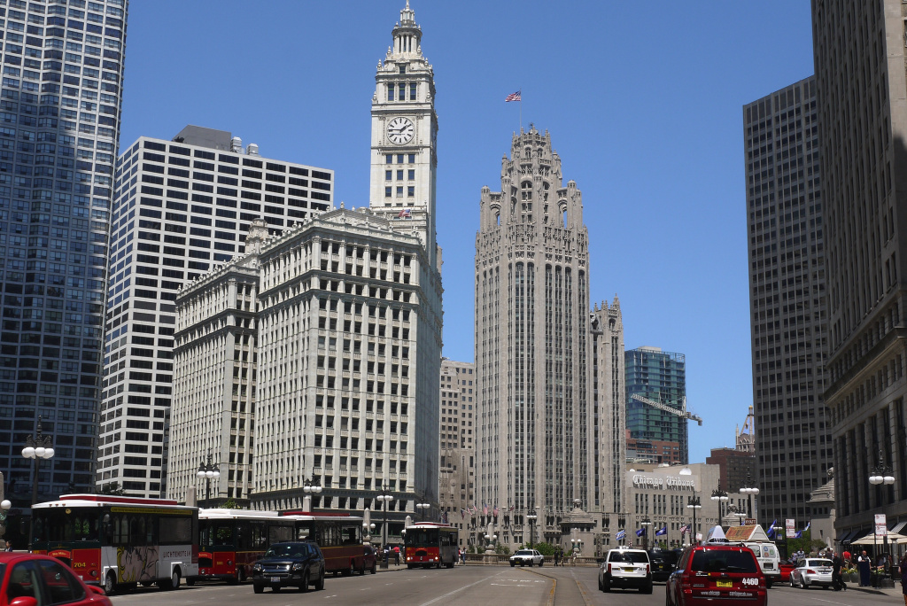 Vehicles travel along Wacker Drive near the Tribune Tower (right center), headquarters of the Tribune Company, on June 7, 2012 in Chicago, Illinois.