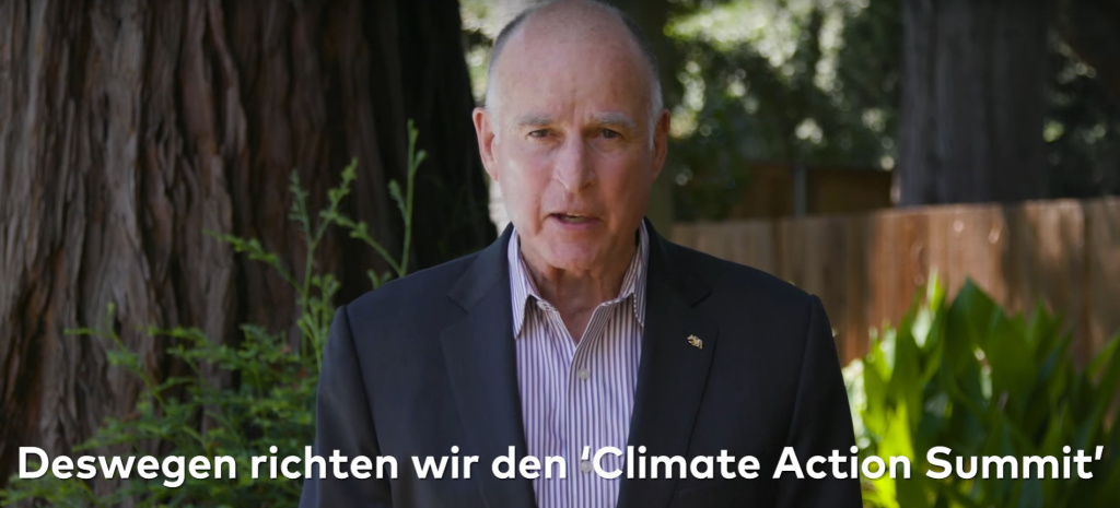 Screengrab from Jerry Brown video for Global Citizen, announcing that California will host a climate summit in September 2018.