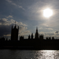 The Houses of Parliament are silhouetted against a setting sun as members of Parliament took part in a debate about possible British military action against Syria.