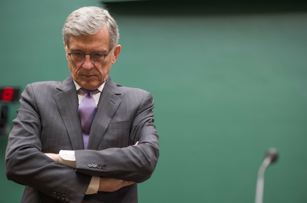 Federal Communications Commission (FCC) Chairman Tom Wheeler testifies before the Communications and Technology Subcommittee on Capitol Hill in Washington, DC, May 20, 2014.