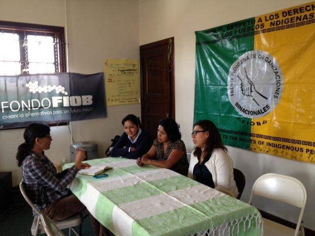 Female volunteers with FIOB, the Frente Indigena de Organizaciones Binacionales, a binational organization of indigenous Mexicans — they organized a caravan of 30 people to travel to Tijuana so they could cast their votes in the election.