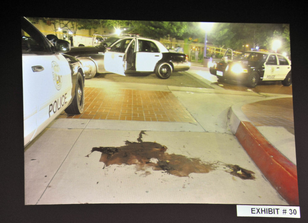 A crime scene investigator's photograph gives some insight into what the scene looked like in the immediate aftermath of an altercation between Kelly Thomas, a homeless man in Fullerton, and police officers on July 5, 2011. (File Photo)