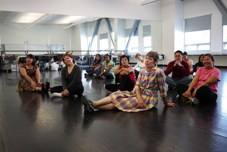 Shana Habel, Los Angeles Unified's Dance Demonstration Teacher, leads a class of teachers at Cortines high school.
