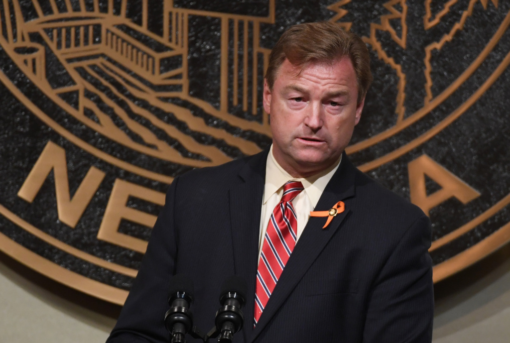 U.S. Sen. Dean Heller (R-NV) speaks at the culmination of a faith unity walk, held to help the community heal after the mass shooting on October 7, 2017 in Las Vegas, Nevada.