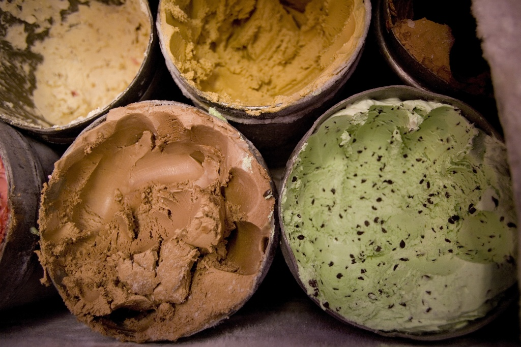 Tubs of ice cream are displayed at Swensen's Ice Cream shop on July 5, 2007 in San Francisco, California.