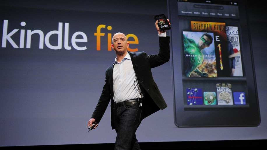 Amazon CEO Jeff Bezos, a Montessori student as a child, introduces the new Kindle Fire tablet in New York, on September 28, 2011.