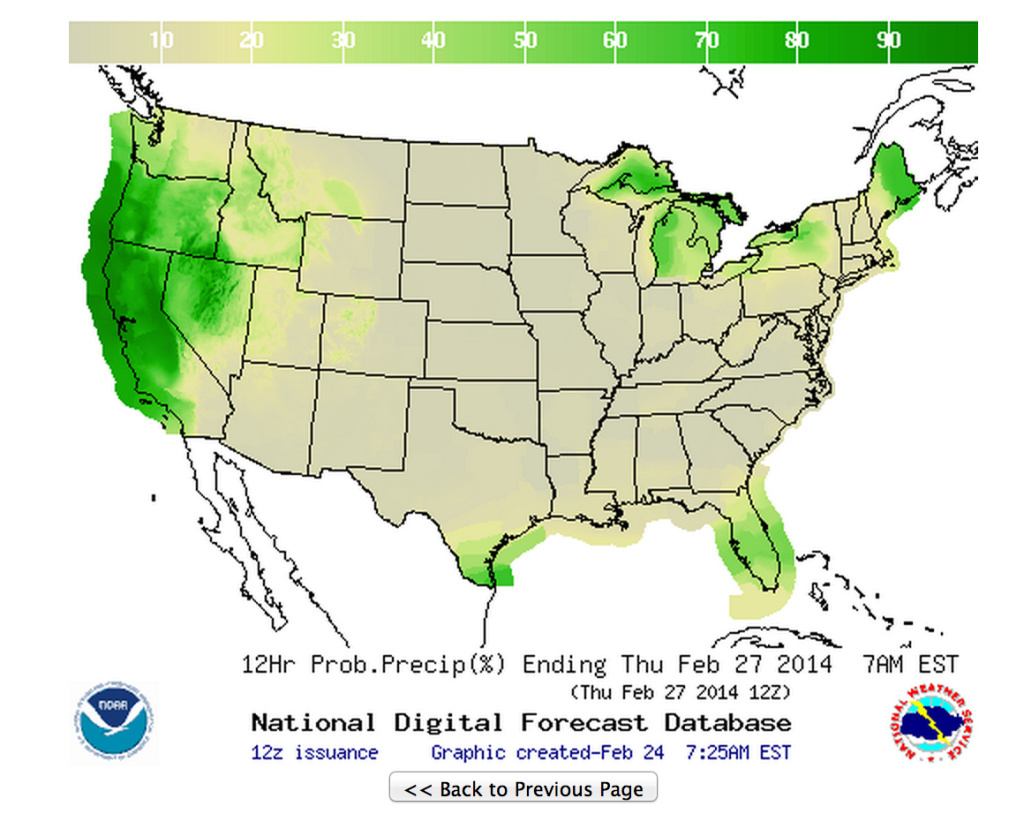 The National Weather Service's map of probable precipitation for a 12-hour period ending Thursday morning at 4 A.M. Green is good...is not what Gordon Gecko said in Wall Street. Friday and Saturday's maps show high probabilities of rain, too.