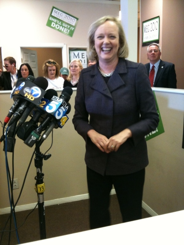Meg Whitman makes the rounds at her Woodland Hills campaign headquarters on Monday, Nov. 1, 2010.