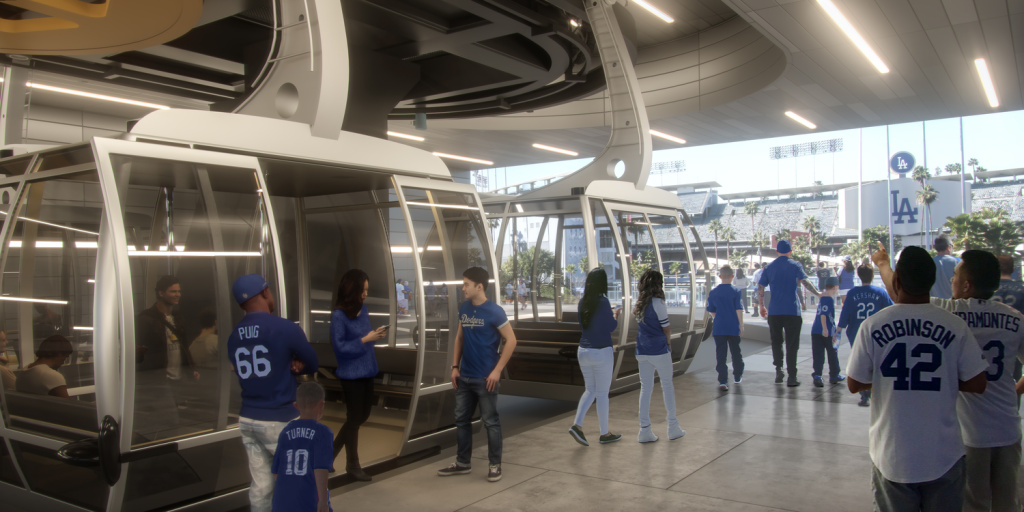 This rendering shows a concept for the Aerial Rapid Transit (ART) project, which would ferry riders to and from Dodger Stadium.