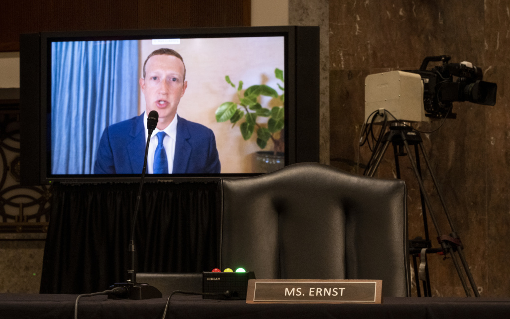 Mark Zuckerberg, Chief Executive Officer of Facebook, testifies remotely during the Senate Judiciary Committee hearing on