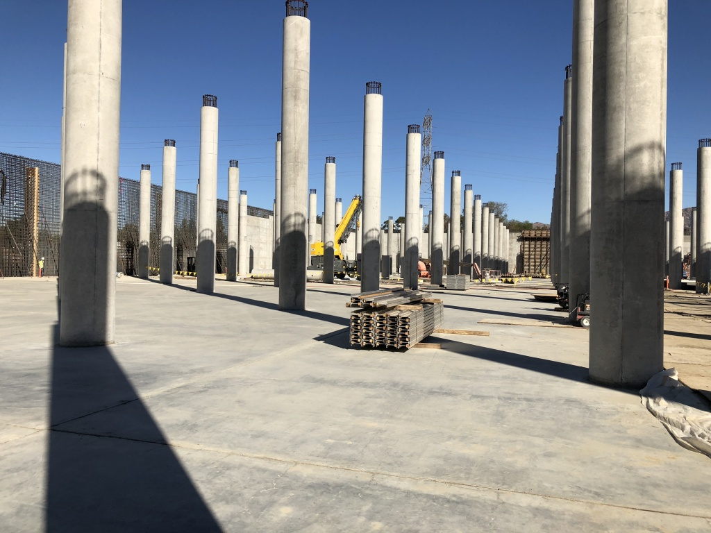 The reservoir is big enough to fit more than four football fields. It includes hundreds of 30-ft concrete columns to hold up the roof being built.