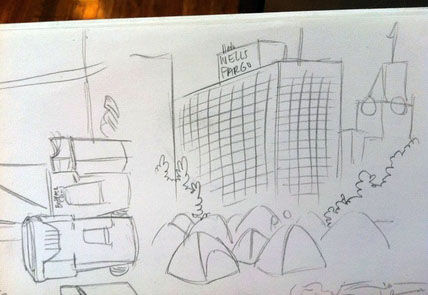 Occupy Oakland rough sketch by cartoonist Susie Cagle