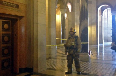 L.A. City Hall after an evacuation when a staffer received a letter with white powder inside it, Thursday, April 11, 2013.