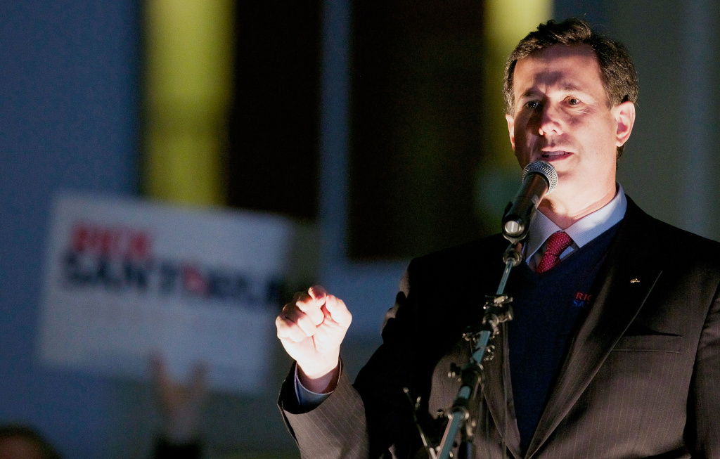 Republican presidential candidate, former U.S. Sen. Rick Santorum rallies supporters February 13, 2012 in Tacoma, Washington. Washington state's caucuses will be held March 3, 2012.