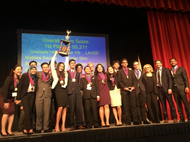 The champions of the California Academic Decathlon, Granada Hills Charter High School this past weekend in Sacramento.
