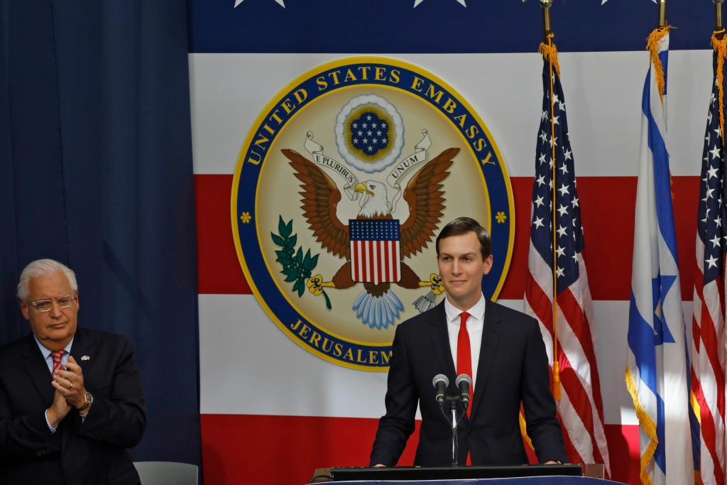 US ambassador to Israel David Friedman claps as Senior White House Advisor Jared Kushner delivers a speech during the opening of the US embassy in Jerusalem on May 14, 2018.