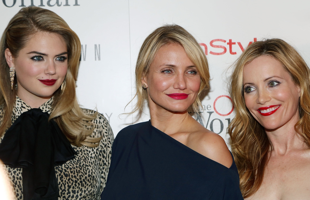 (L-R) Actresses Kate Upton, Cameron Diaz and Leslie Mann attend The Cinema Society & Bobbi Brown with InStyle screening of