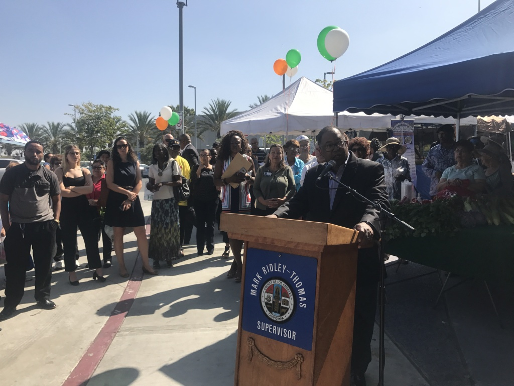 District Supervisor Mark Ridley-Thomas speaks at the opening of the farmers market.
