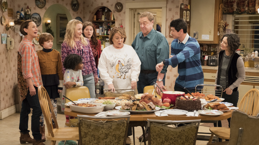 ABC's <em>Roseanne</em> reboot stars (left to right) Laurie Metcalf, Ames McNamara, Jayden Rey, AliciaGoranson, Emma Kenney, Roseanne Barr, John Goodman, Michael Fishman and SaraGilbert.