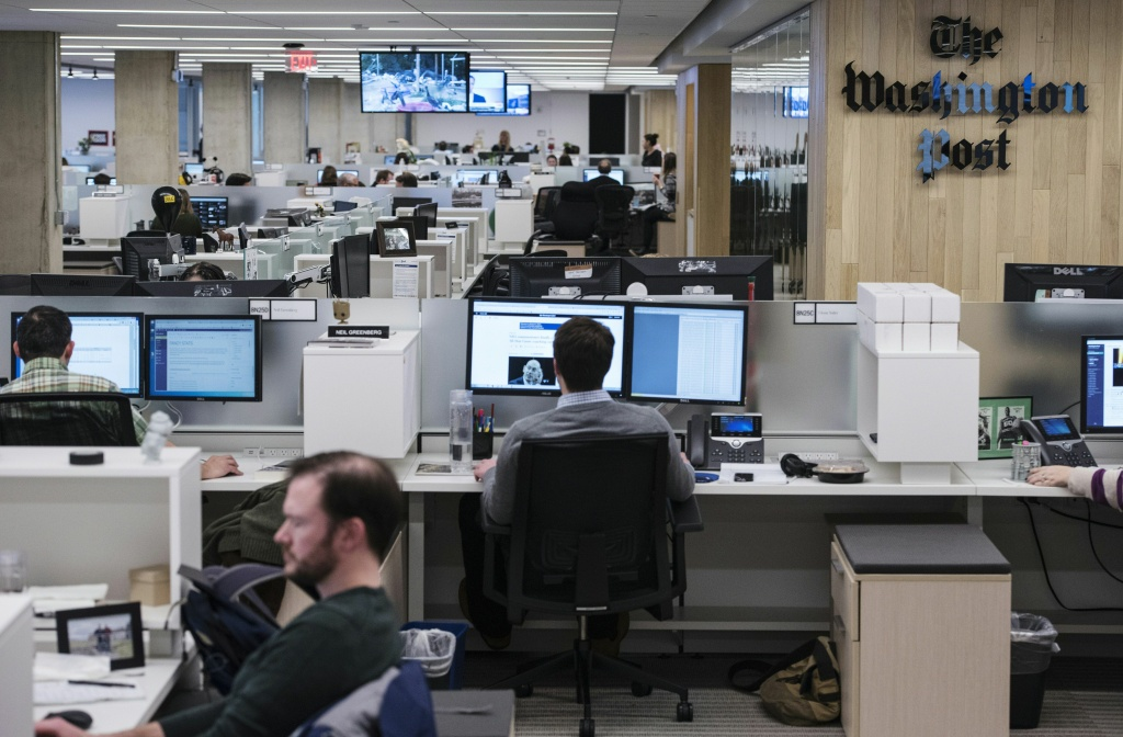 The Washington Post newsroom is seen following the inauguration of its headquarters on January 28, 2016 in Washington, DC.