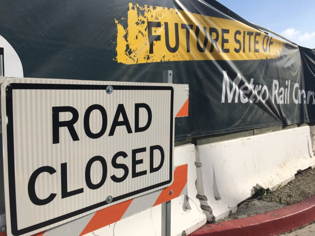 A part of the road closed near the Baldwin Hills Crenshaw Plaza in January 2016. The site will be one of the stations along the Crenshaw/LAX line, scheduled to open in 2019.