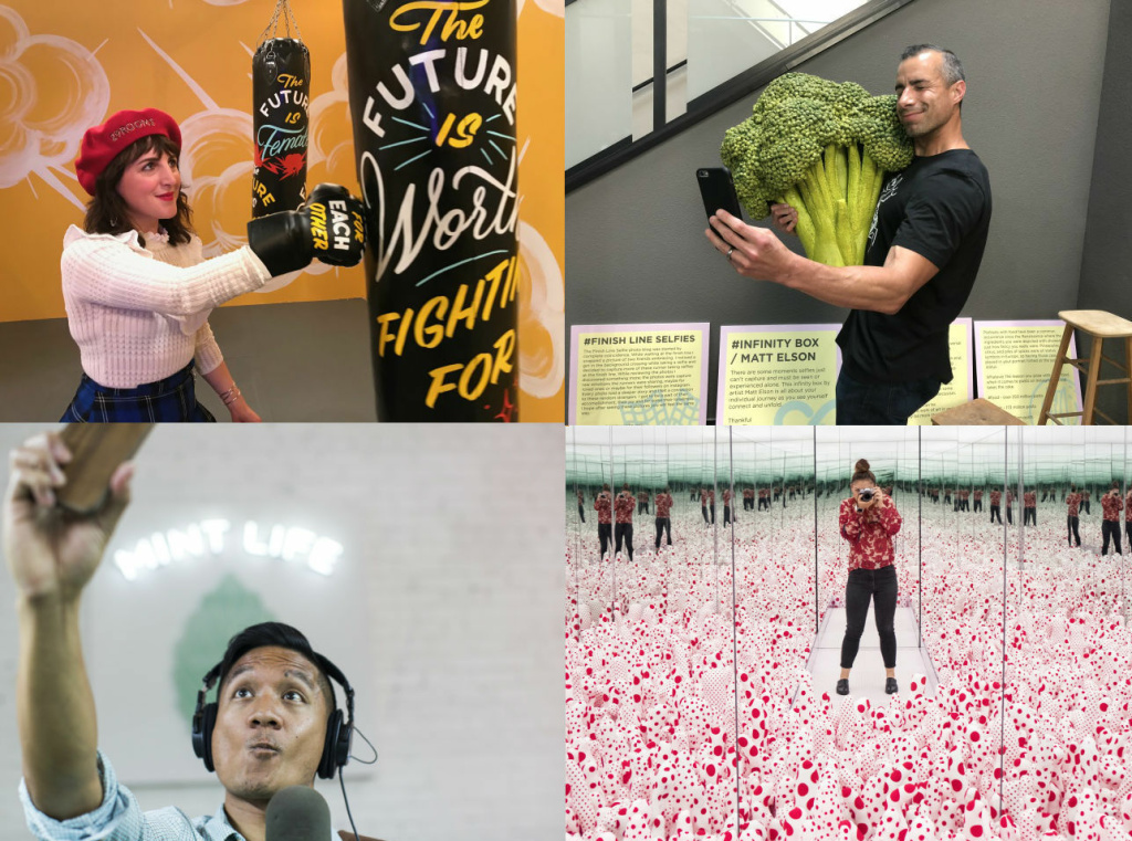 A collage of people in selfie-ready art spaces in LA. Clockwise from top left: Piera Gelardi, executive creative director and co-founder of Refinerary29, in 29Rooms; A Martinez at the Museum of Selfies; Maya Sugarman at The Broad's Yayoi Kusama exhibit; and Leo Duran at the Museum of Ice Cream.