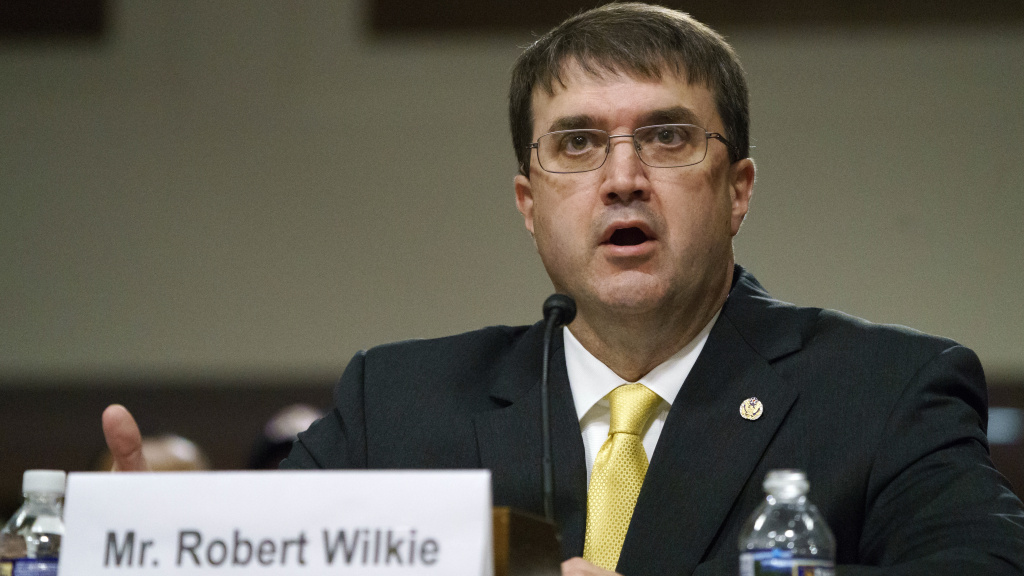 Robert Wilkie testifies during a Senate Veterans Affairs Committee nominations hearing on Capitol Hill in Washington, on June 27, 2018.