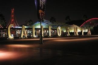 The California Adventure sign at night.