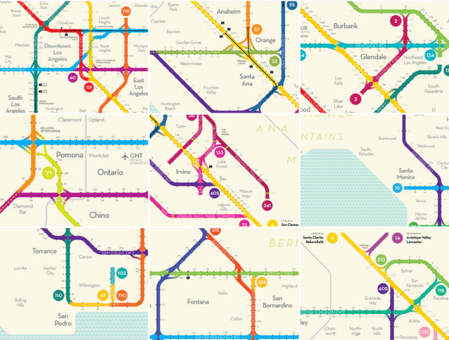 Boston Subway Map Poster.La Freeway Map Radically Redesigned As Subway System 89 3 Kpcc