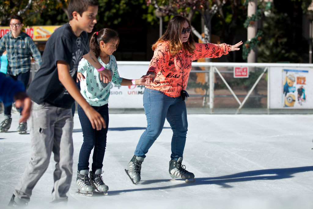 Downtown on Ice at Pershing Square takes place on Christmas Eve during the 11:30 a.m. to 12:30 p.m. session. Skaters are let onto the rink an hour at a time.