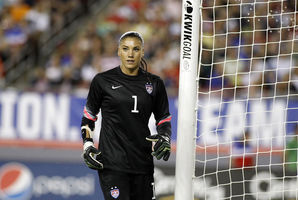 Goalkeeper Hope Solo #1 of the United States takes her position in goal during the second half of a women's friendly soccer match against France on June 14, 2014 at Raymond James Stadium in Tampa, Florida.