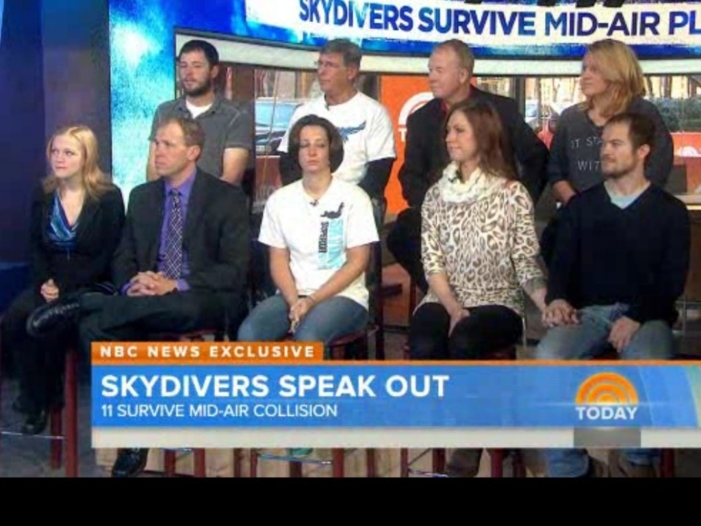 "On Tuesday's ""The Today Show,"" nine skydivers who had a very close call over Wisconsin talked about the collision of their planes."