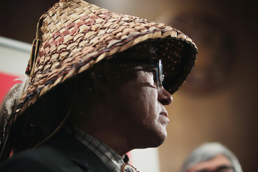 National Congress of American Indians (NCAI) President Brian Cladoosby listens during a news conference in this September 16, 2014 file photo taken on Capitol Hill in Washington, DC. On Thursday, January 22, 2015, Cladoosby reaffirmed the NCAI's commitment to combating the Washington NFL team's use of the term