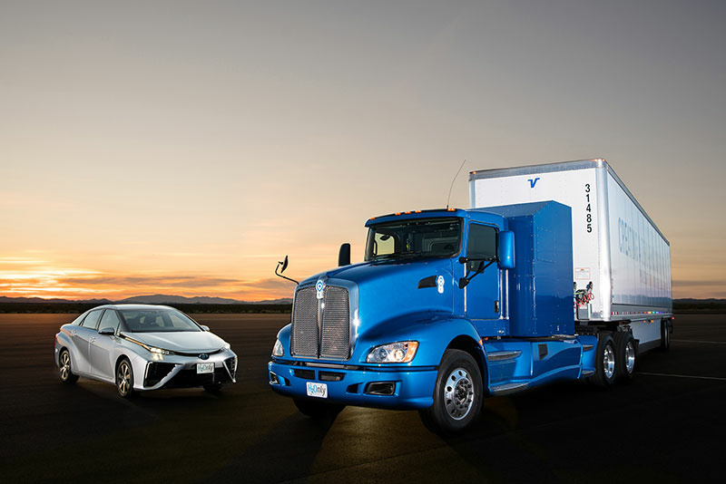 Toyota's Project Portal Class 8 truck can haul 80,000 tons of cargo using two hydrogen fuel cells from the Toyota Mirai sedan.
