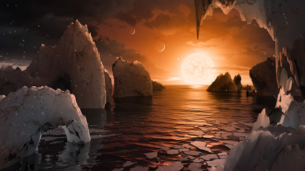 An artist's conception of what it might be like to stand on the surface of the exoplanet TRAPPIST-1f, located in the TRAPPIST-1 system