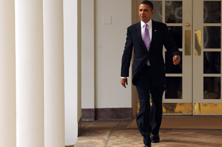 U.S. President Barack Obama walks through the Colonnade of the Rose Garden of the White House on Jan. 25, 2011 in Washington, DC. Later this evening Obama will give his State of the Union Address to the Joint Session of Congress.