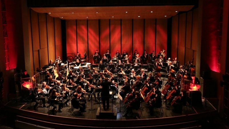 Musicians from the Santa Monica Symphony Orchestra perform.