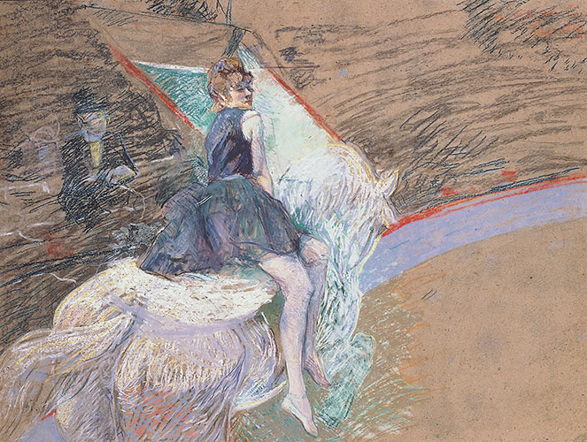 Henri de Toulouse-Lautrec (French, 1864-1901) At the Cirque Fernando, Rider on a White Horse, 1887-1888 Pastel and drained oil on board