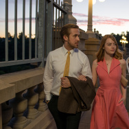 "Ryan Gosling and Emma Stone star in the movie musical ""La La Land."""