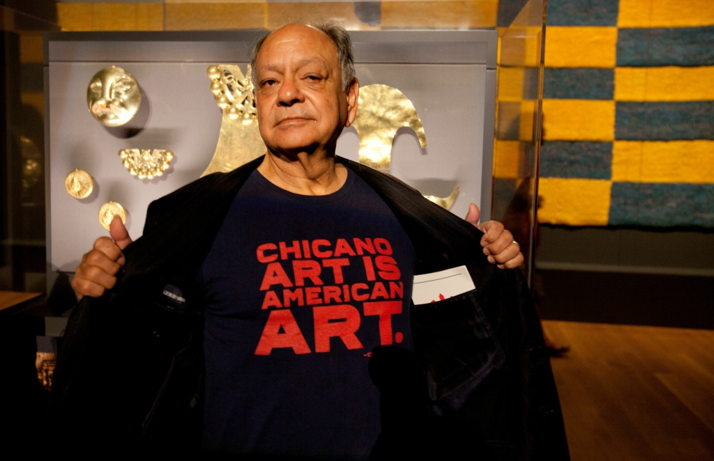 Actor Cheech Marin shows his support for Chicano art at the Getty Museum's Pacific Standard Time: LA/LA opening celebration in Los Angeles late on September 15, 2017.