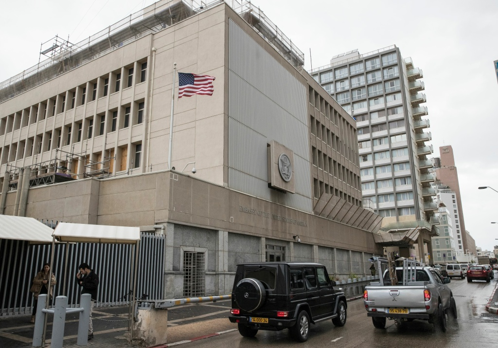A picture shows the exterior of the US embassy in Tel Aviv on December 6, 2017.