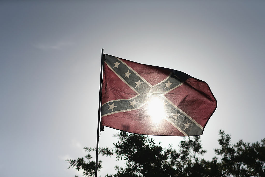 A Confederate flag is seen during a rally to show support for the American and Confederate flags on July 11, 2015 in Loxahatchee, Florida.
