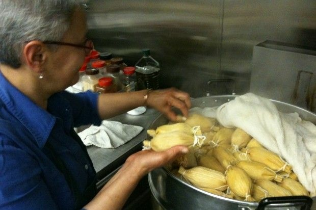 Patricia Zarate, manager of Homegirl Café, readies a batch of tamales. December 2010