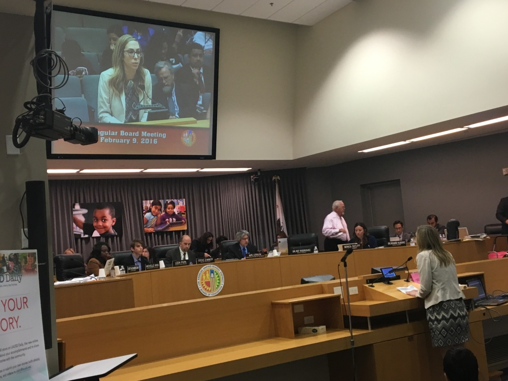 FILE - Cassy Horton, a director of regional advocacy for the California Charter Schools Association, testifies in support of a charter application at a Los Angeles Unified school board meeting in Feb. 2016.