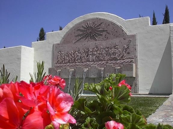A fountain at the home of Cesar Chavez in Keene, CA.