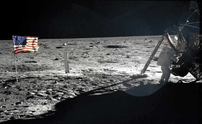 Picture taken on July 20, 1969 shows astronaut Edwin E. Aldrin Jr., lunar module pilot, walking on the surface of the moon during the Apollo 11 extravehicular activity (EVA). Astronaut Neil A. Armstrong took this photograph with a 70mm lunar surface camera. With one small step off a ladder, commander of the Apollo 11 mission Neil Armstrong of the US became the first human to set foot on the moon on July 20, 1969, before the eyes of hundreds of millions of awed television viewers worldwide. With that step, he placed mankind's first footprint on an extraterrestrial world and gained instant hero status.