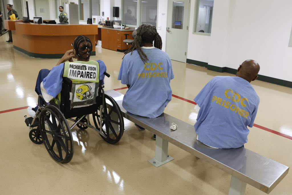 Inmates await treatment at the new mental health treatment unit at the California Medical Facility in Vacaville, Calif., Thursday, Feb. 14, 2013.